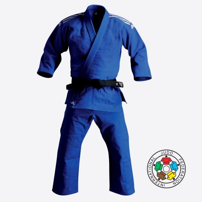 Adidas J350 Junior Kids Judo Gi Uniform White /& Black Stripes Belt