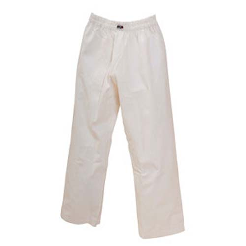 These 7 oz. pants are ideal for anyone, at any age, starting out in martial arts. The classic white fabric is fitted with a traditional cut, and constructed of a highly durable polyester/cotton blend.