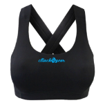 Performance Racerback Crush Sports Bra - Black/Cyan
