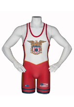 Cliff Keen Sublimated Stock USA Wrestling Singlet - Red