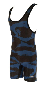 Matman Youth Blue Camo Wrestling Singlet