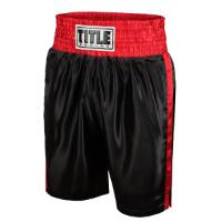 Title Women's Classic Edge Satin Boxing Trunks - Black/Red