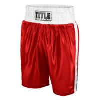 Title Women's Classic Edge Satin Boxing Trunks - Red/White